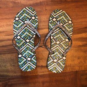 NWOT Vera Bradley Green/Turquoise Flip Flops 9-10
